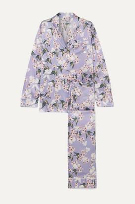 Olivia von Halle Maleficent Lila Floral-print Silk-satin Pajama Set - Lilac