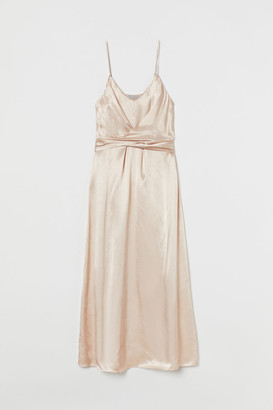 H&M Wrap-detail Satin Dress - Beige