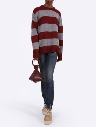 Acne Studios Block Stripe Knitwear Brick Red Grey
