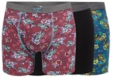 Mantaray Big And Tall Pack Of Three Dark Red And Navy Floral Car Print And Plain Black Keyhole Trunks