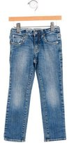 Armani Junior Girls' Faded Wash Straight-Leg Jeans