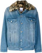 Sjyp leopard print collar denim jacket