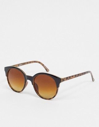 Accessorize Penny two part preppy round sunglasses in tortoiseshell