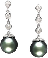 EFFY Cultured Tahitian Pearl and Diamond (1/3 ct. t.w.) Drop Earrings in 14k White Gold