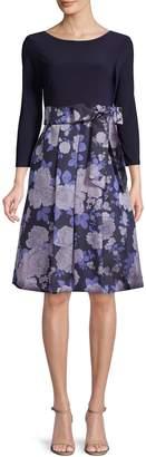 Eliza J Belted Knee-Length A-Line Dress