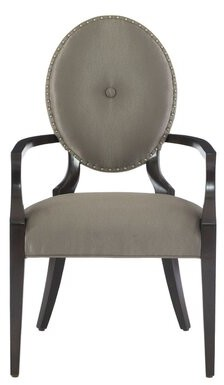 Bernhardt Jet Set Tufted Upholstered Arm Chair in Gray (Set of 2