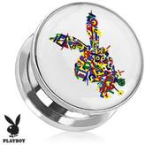 Playboy Bunny Logo Color Letters Print Screw Fit Plug 316L Surgical Steel (Sold as a Pair)