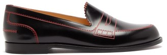 Christian Louboutin Mocalaureat Trompe-l'oeil Leather Penny Loafers - Womens - Black Red