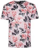 Criminal Damage Pink Rose Print T-Shirt
