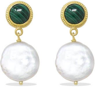 Vintouch Italy Gold-Plated Malachite & Keshi Pearl Earrings