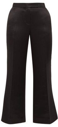Marina Moscone Tailored Wool-blend Satin Trousers - Black