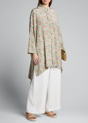 eskandar Satin Chinese-Collar Shirt