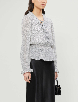 Ted Baker V-neck ruffled crepe blouse
