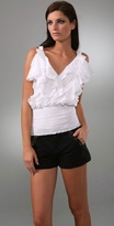Catherine Malandrino Ruffle Top with Smocked Waist