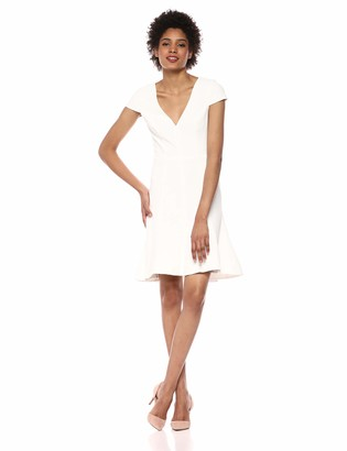 Dress the Population Women's Bettie Sleeve Plunging Fit & Flare Short Dress