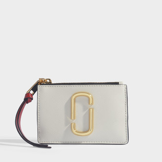 Marc Jacobs Snapshot Top Zip Multi Wallet In White Leather