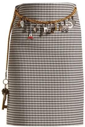 Balenciaga Houndstooth Chain-belt Pencil Skirt - Womens - Black White
