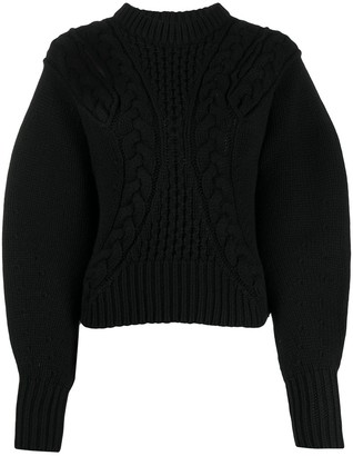Alexander McQueen Cropped Cable Knit Jumper