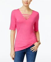 INC International Concepts V-Neck Cutout Top, Only at Macy's