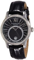 Stuhrling Original Women's 544.11151 Vogue Audrey Dawn Swiss Quartz Swarovski Crystal Date Black Leather Strap Watch