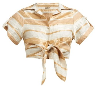 Cult Gaia Madeline Striped Tie-front Cropped Shirt - Beige Stripe