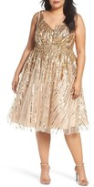 Mac Duggal Plus Size Women's Sequin Fit & Flare Dress