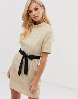 UNIQUE21 high neck shift dress-Beige