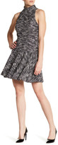 ABS by Allen Schwartz Mock Neck Jacquard Fit & Flare Dress