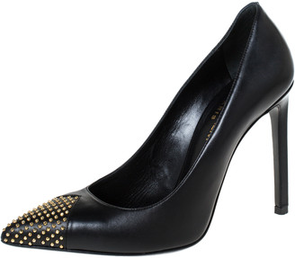 Saint Laurent Paris Black Leather Studded Pointed Toe Pumps Size 36
