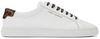 Saint Laurent White Leopard Print Andy Sneakers