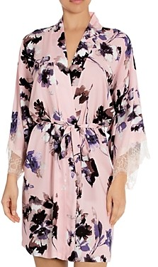 Midnight Bakery Lace Trim Floral Print Wrap Robe
