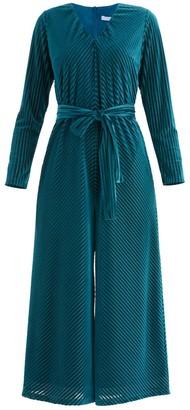 Paisie London Striped Velvet Jumpsuit In Turquoise