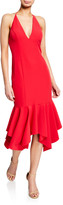 Aidan Mattox Low-Back Plunging Halter-Neck Crepe Midi Flounce Dress