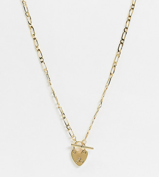 Orelia chunky necklace with heart padlock and t-bar fastening in gold plate