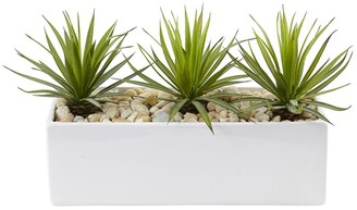 Nearly Natural Mini Agave Artificial Plant in Rectangular Ceramic