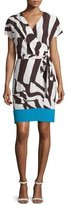 Escada Short-Sleeve Colorblock Wrap Dress, Mocca
