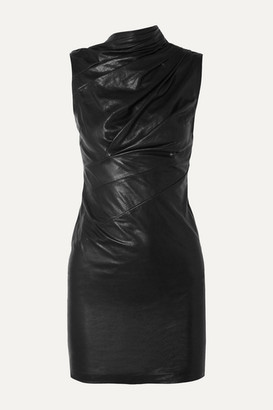 RtA Holly Ruched Textured-leather Mini Dress - Black