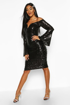 boohoo Sequin Flare Sleeve Rouched Side Midi Dress