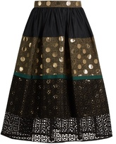 Kolor Contrast-panelled A-line skirt