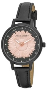 Laura Ashley Women's Sunflower Dial Black Polyurethane Strap Watch 38mm