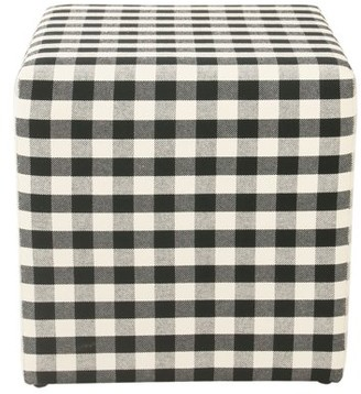 HomePop small square ottoman - Mini Black Plaid