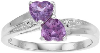 Sterling Silver Lab-Created Alexandrite Diamond Accent Heart Bypass Ring