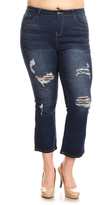 Be Girl Dark Wash Distressed Flare Crop Jeans - Plus