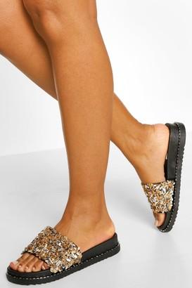 boohoo Embellished Footbed Sliders