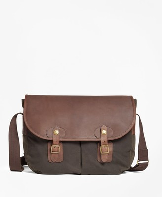 Brooks Brothers Waxed Canvas & Leather Messenger Bag
