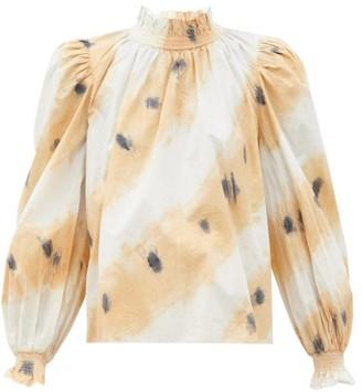 Sea Tamara Tie-dyed Shirred Cotton Blouse - White Multi