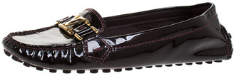 Louis Vuitton Burgundy Patent Leather Oxford Loafers Size 38