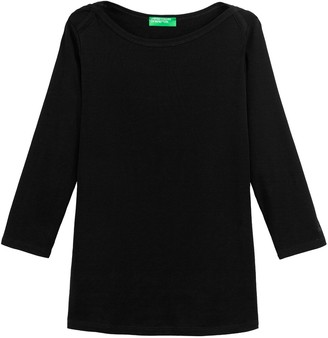 Benetton Basic Cotton T-Shirt with Long Sleeves
