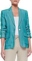 Neiman Marcus One-Button Linen Blazer, Plus Size