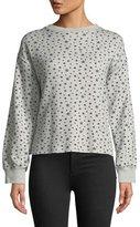 Current/Elliott The Slouchy Crewneck Star-Pattern Crop Sweatshirt